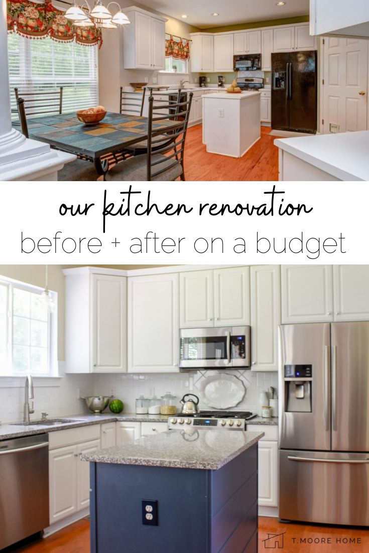 our budget kitchen renovation: here's how we transformed this 1990s suburban kitchen into a modern farmhouse showplace! #blueandwhite #whitecabinetideas