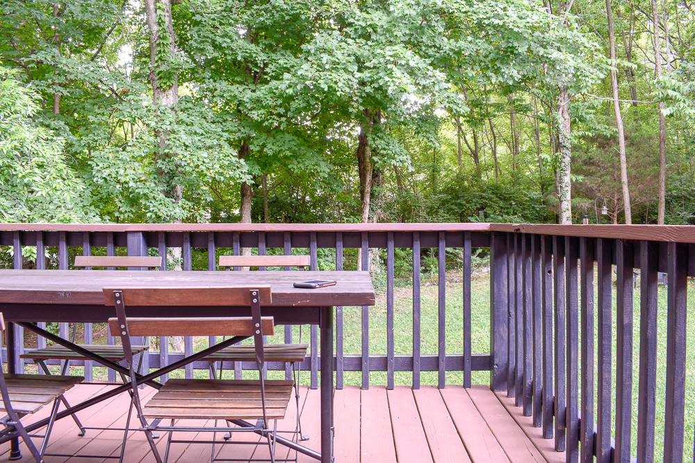 Old Wood Patio Makeover with Behr Deck Over and regular exterior paint