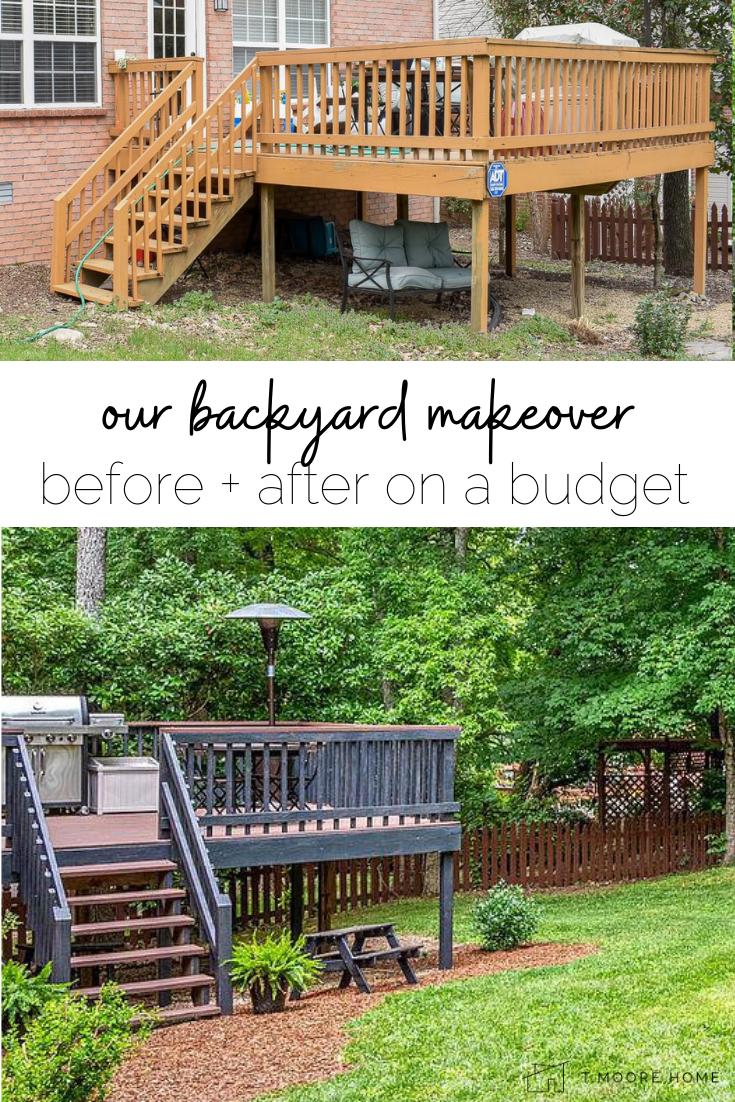 wood deck makeover - here's how we made our backyard look like a party oasis for under $500!  #patioideas #shadeyard #deckupdate