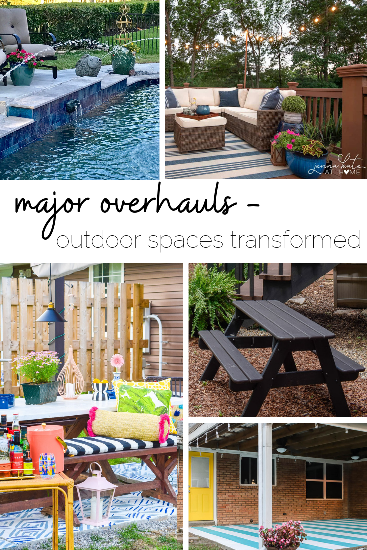 Transforming outdoor living spaces without completely tearing out patios and decks - Here's a round-up of patio makeovers that are easy and budget-friendly! #patioideas #deckmakeover #outdoorliving