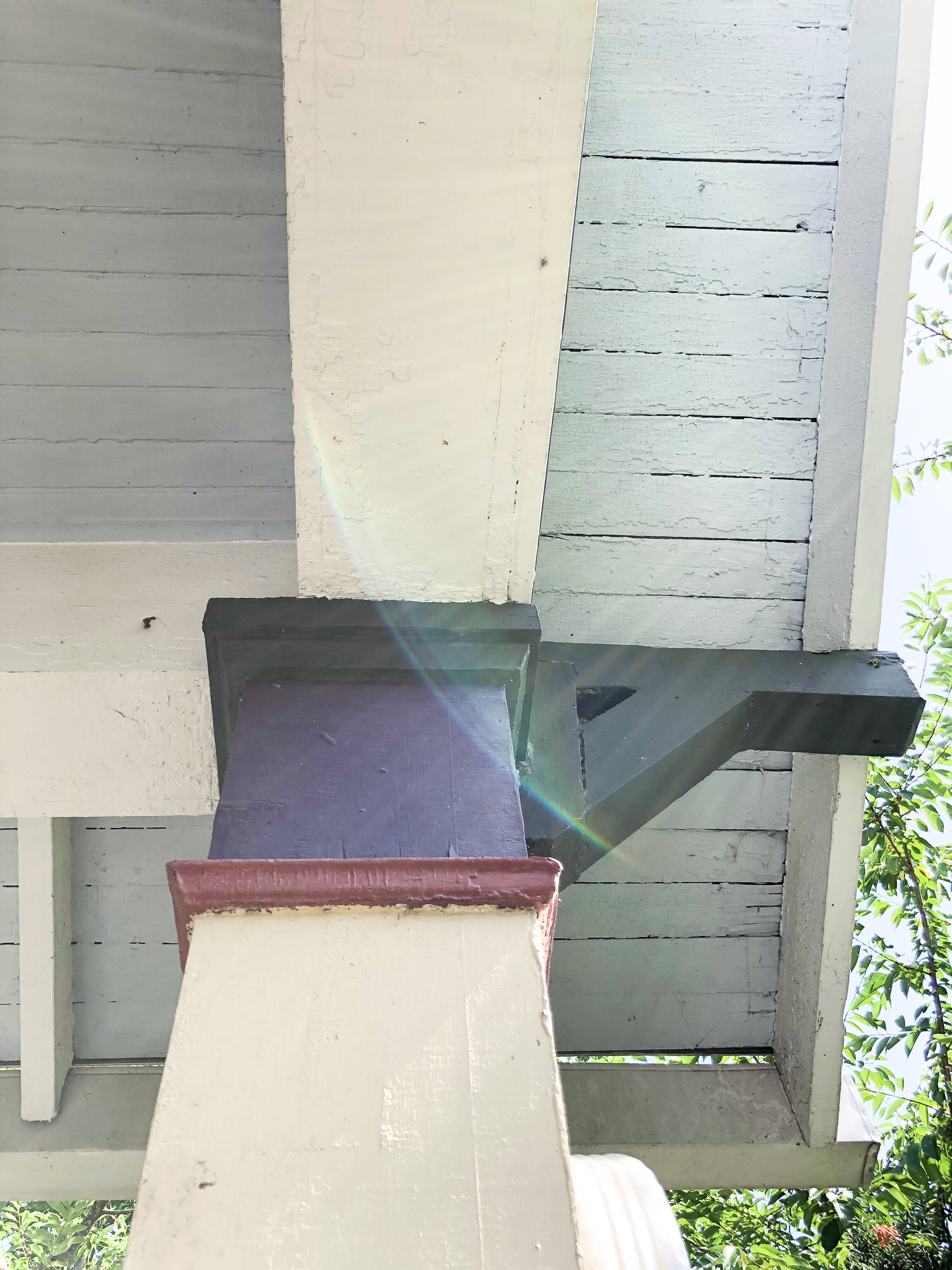 Exposed rafters are a common feature of California Bungalows. This architectural style was popular in the early 1900s all across America.