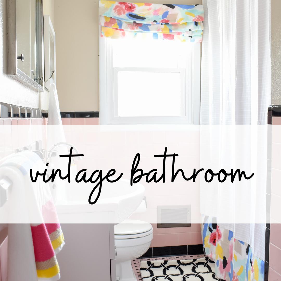 vintage pink tile bathroom makeover