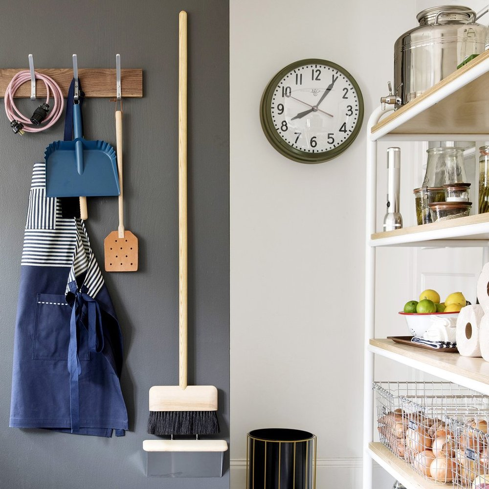 wood and metal broom that can be displayed in a mudroom and serve the purpose of functional art? Yes please.