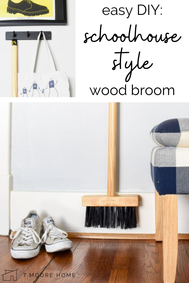 DIY Wood Broom: Learn how I built this wooden broom from up cycled bristles and scrap wood. Total project cost: $0 and now I have a new cleaning supply that I don't mind hanging around the house for guests to see. #diycleaning #upcycled #cleaninghacks #zerodollarupdate #diylifehacks #pantrychallenge #athomediychallenges #realsimple #modernfarmhousedecor #bungalowstyle