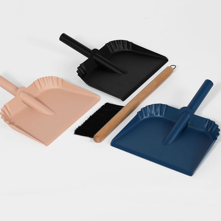 metal and wood broom and dust pan