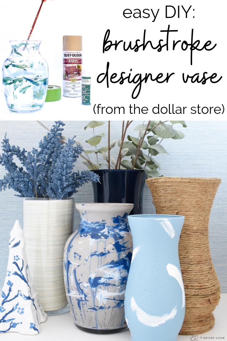 DIY tutorial - knock off designer brush stroke vases from the dollar store - dollar store home crafts
