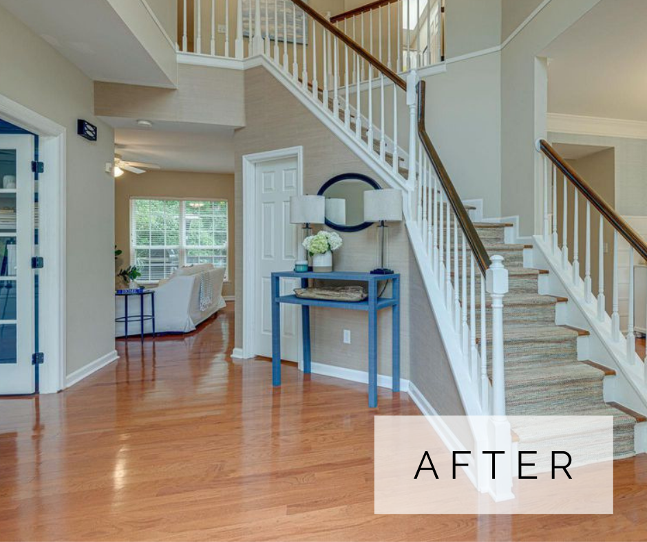suburban home makeover - foyer after