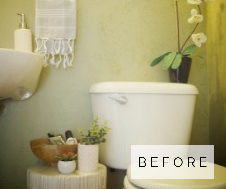 small powder room makeover before