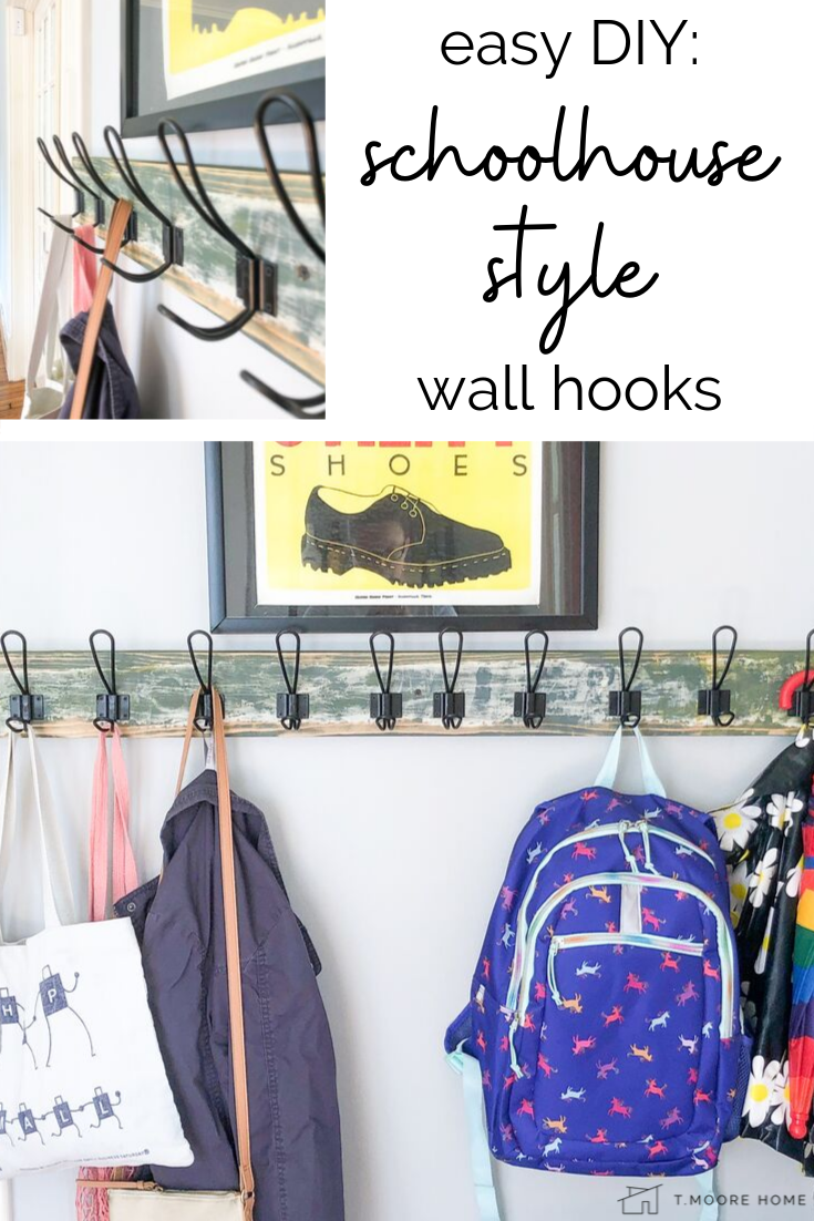 No mudroom? No problem! This easy and cheap DIY coat and backpack storage solution creates an instant entryway right beside your front door! #kidstorage #schoolhousestyle #industrialmodern #vintagehomedecor #schoolhouse #diystorage #organizinghacks #mudroom