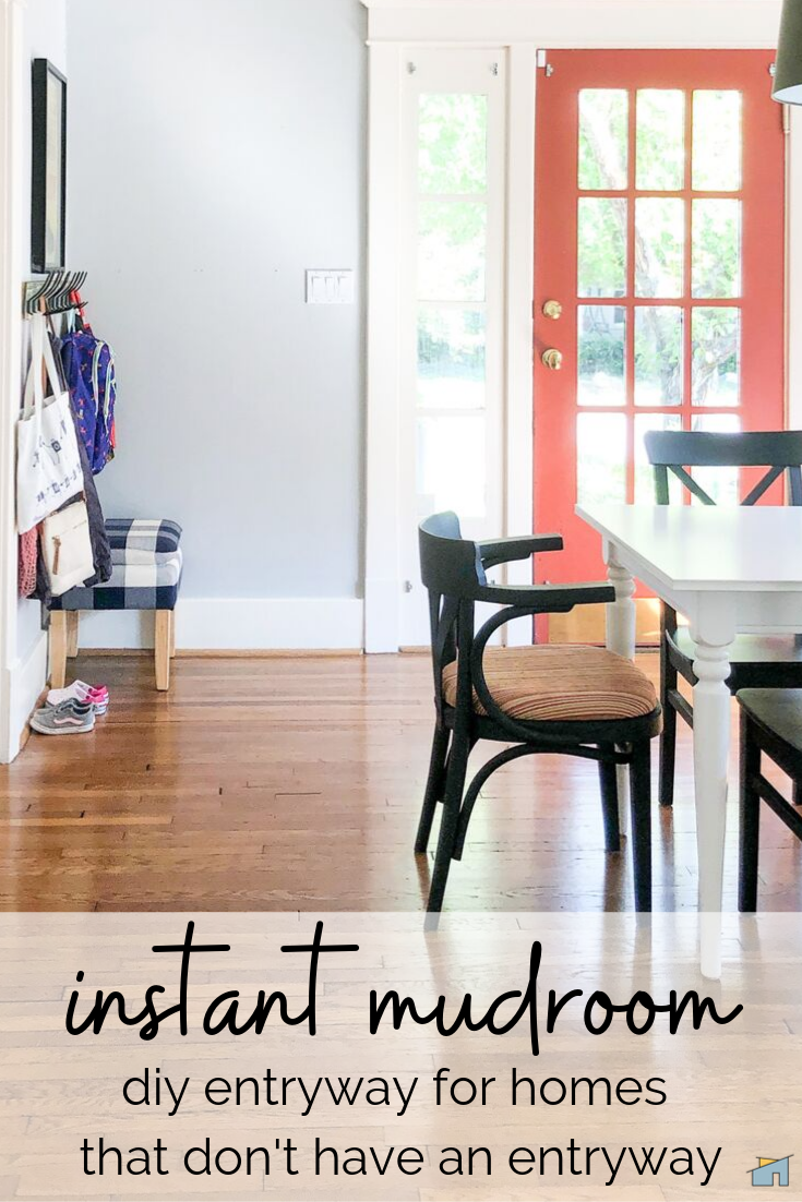 How To Store Coats, Backpacks, and Bags Without A Dedicated Entryway: No mudroom? No problem. With this super simple and cheap DIY, you can corral all your kid's backpacks, reusable grocery store bags, and outerwear in style. #mudroominspiration #organizationideas #schoolhousestyle #vintagevibes #historichomes #diyorganizingideas #under$20craft #storagehacks