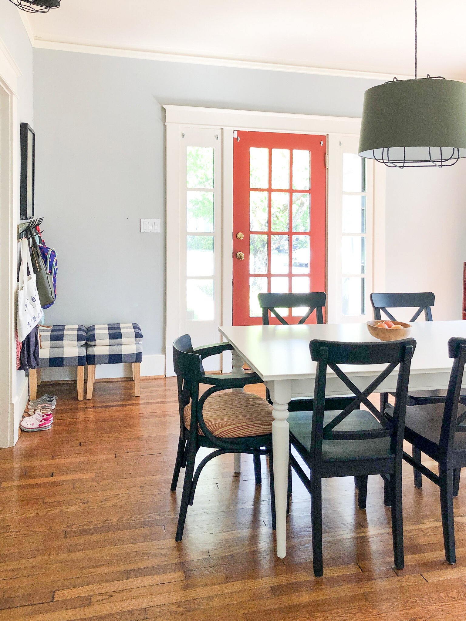 Schoolhouse Style Lighting - This California Bungalow boasts a family-friendly decor style with vintage accents and modern cottage interiors.