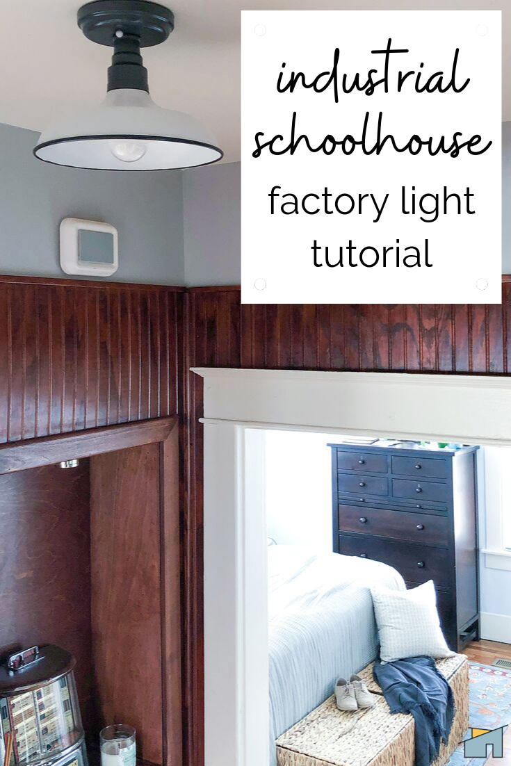 schoolhouse light - A DIY at a fraction of the cost of retail + it's super easy to make! #schoolhouse #cottagestyle #modernfarmhouse #californiacasual #bungalowstyle #bungalowinteriors