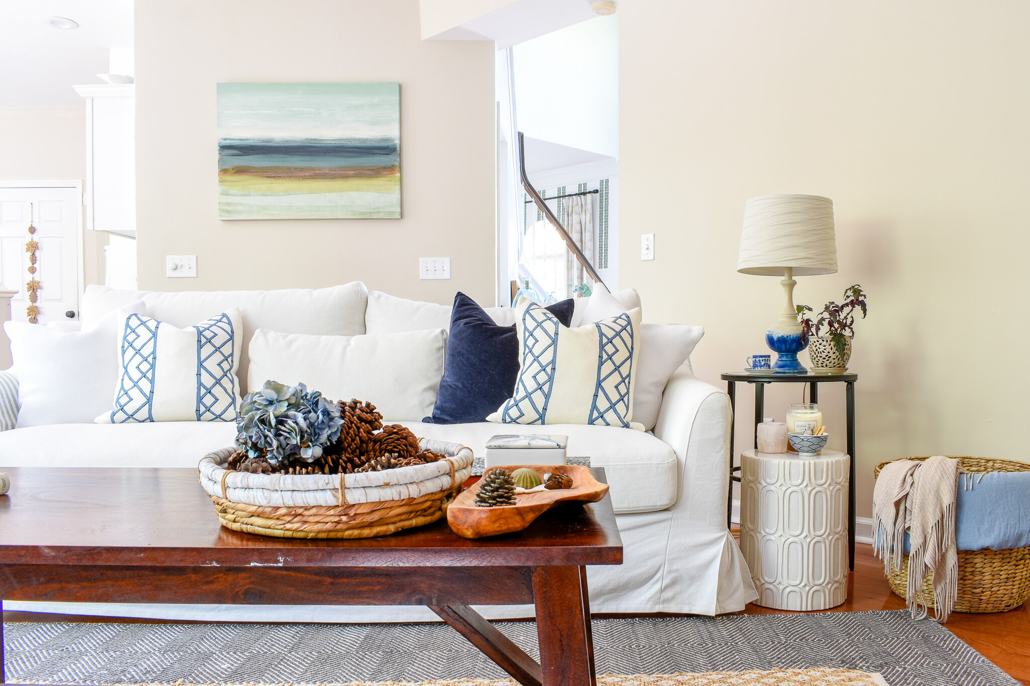Living Room Decor - blue and white with natural accents