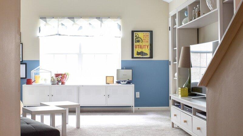 Modern+Bonus+Room+Decor+-+Blue+Walls+-+Color+Blocking