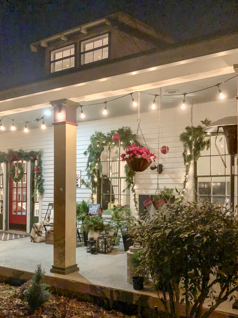 Edison lights for Christmas porch decorating