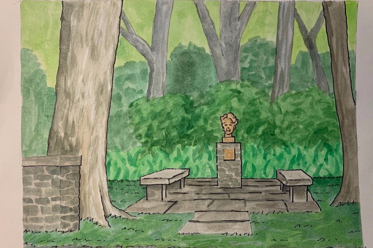 """Rendering of the """"Small Places"""" monument honoring Eleanor Roosevelt off of Woods Road in Tivoli"""