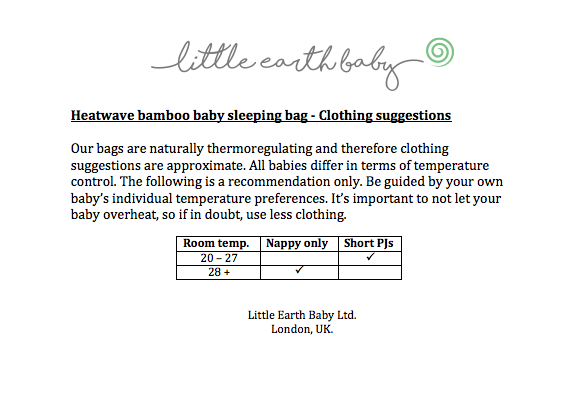Baby sleeping bag tog clothing guidance - heatwave.png