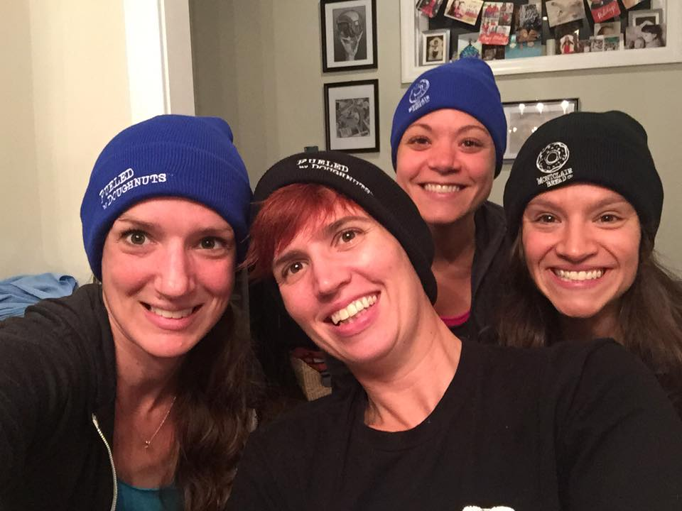 November 2015: Fueled by Doughnuts Running Club founders Anne Arthur, Me, Anne Perry & Cara Constantino during one of many planning meetings. Not pictured: Ryan Trimmer