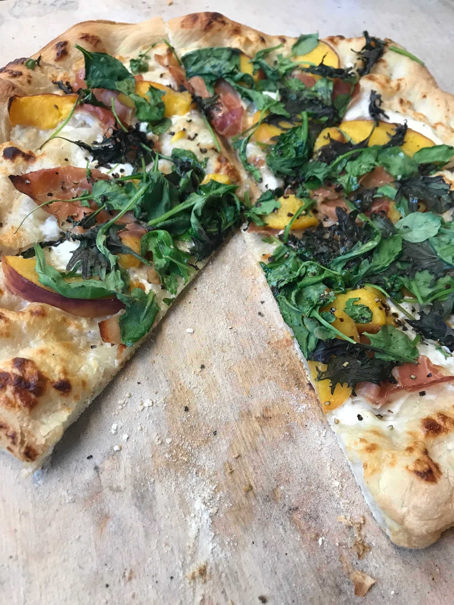 Peach Prosciutto Pizza on Sourdough Crust