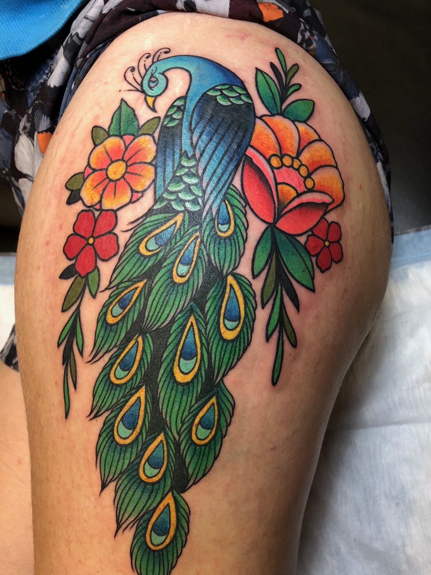 Completed Peacock on my left thigh