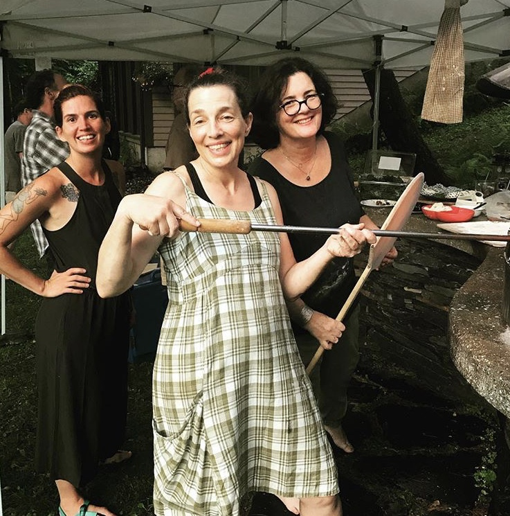 Pizza making with Sharon Burns Leader (Bread Alone) and Paula Olin (Balthazar's).  This was taken two weeks before my fall.