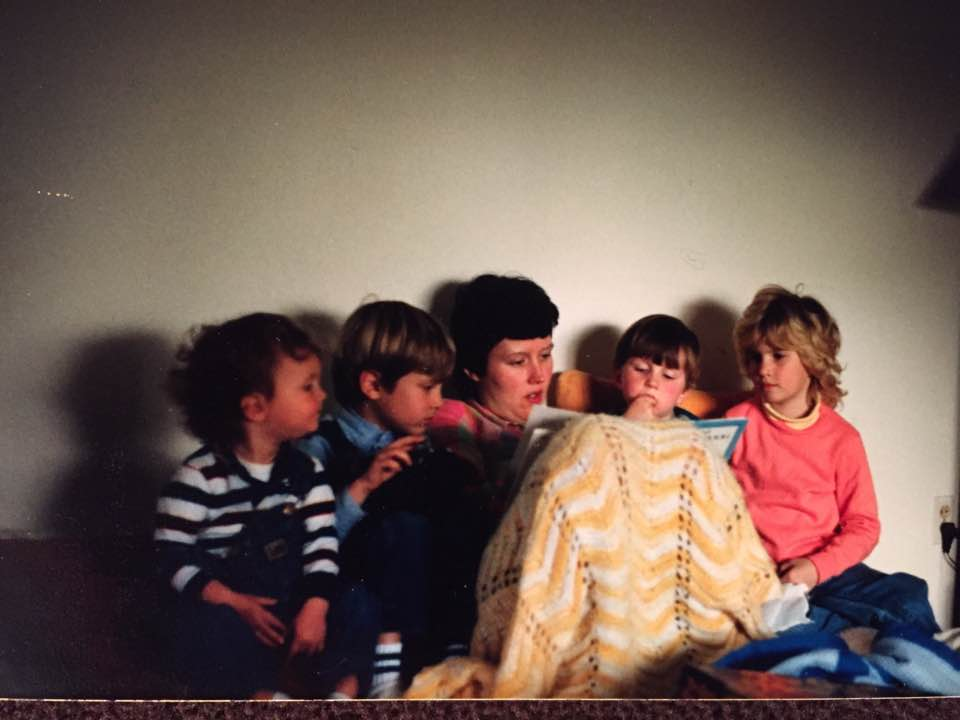 Mrs. April reading to me (on the right with the bad hair) and her boys circa 1988.