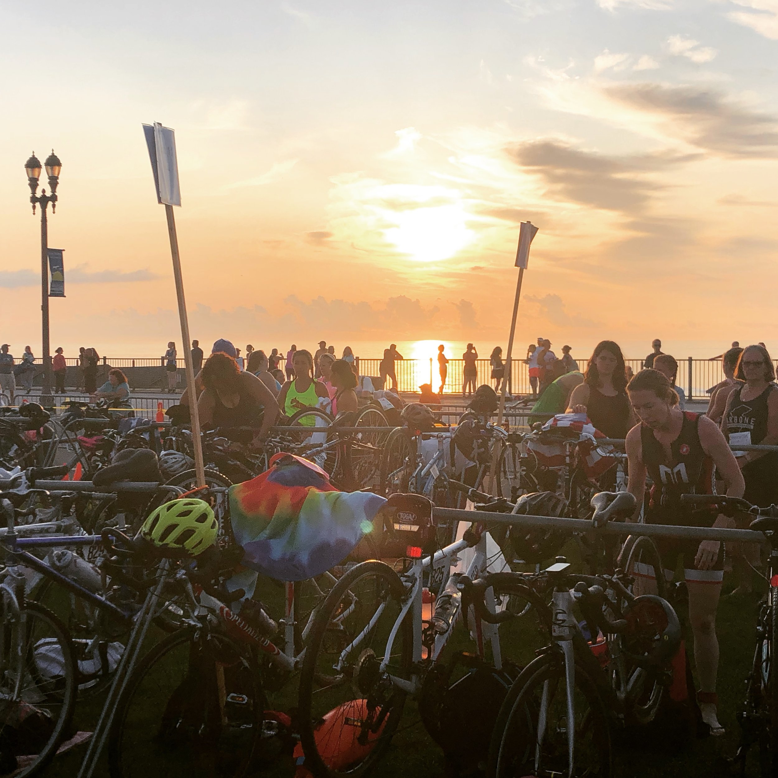 Getting ready for an ocean swim on the Jersey Shore