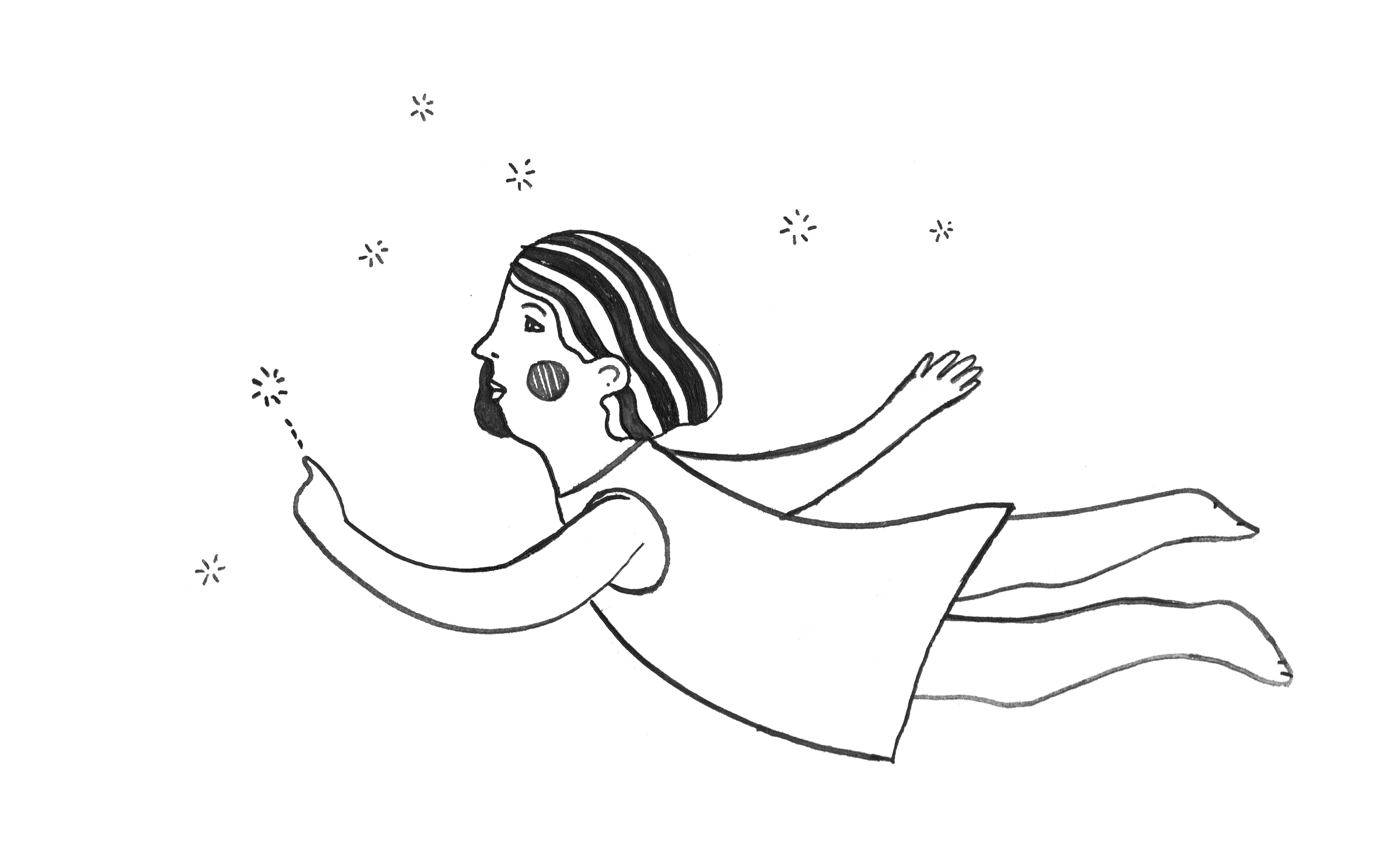 I sketched this quick little Star Gazer in my notebook and felt really inspired, so I whipped out my watercolour pad and made the drawing below.