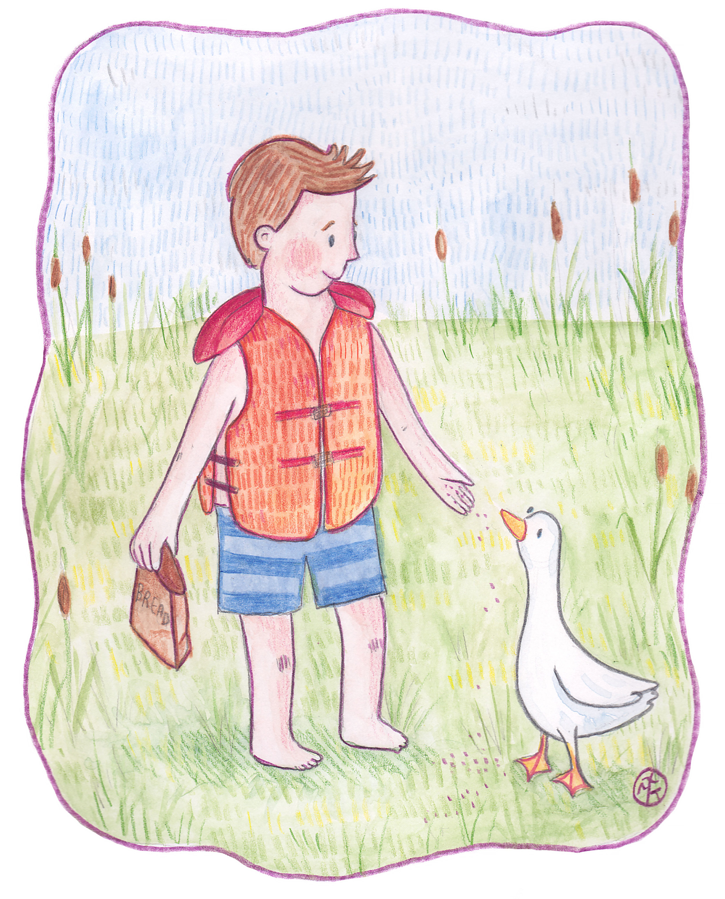 "I drew this picture last weekend when I was up north vacationing with my family. It's of my nephew, and when I showed it to him he said, ""Oh is that me?! But... I never fed the ducks. Do it again."" Well, Noah... Sometimes a lady's got to improvise!"