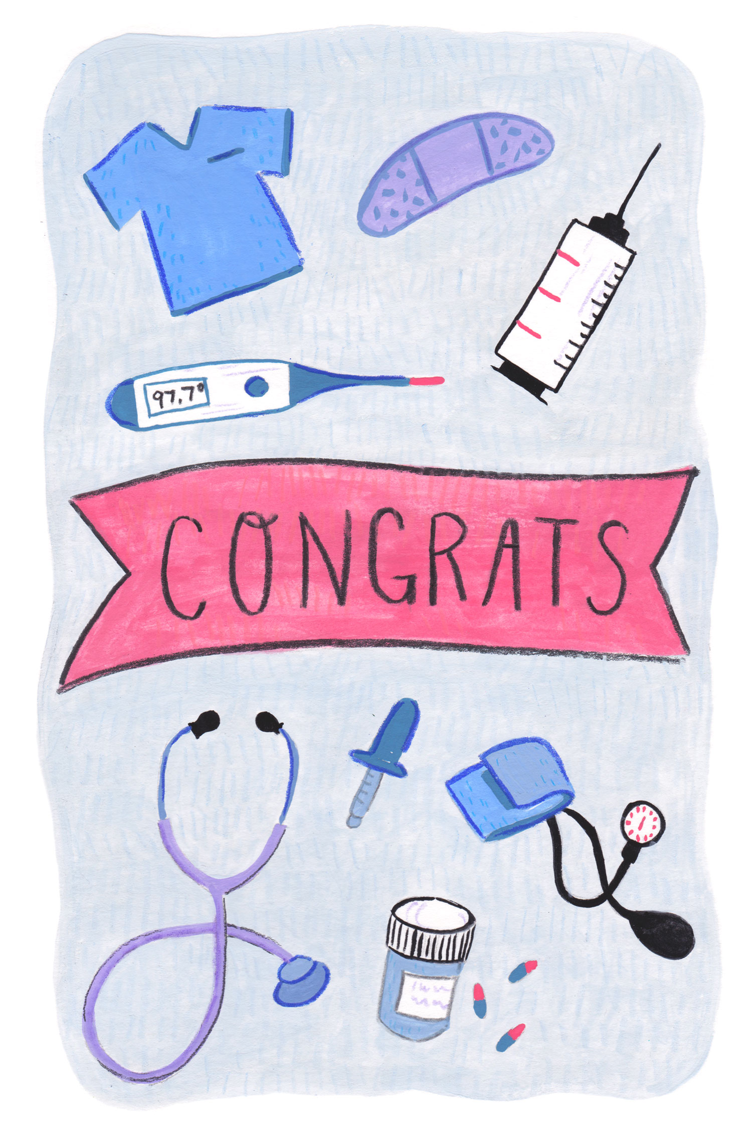 A graduation card I was commissioned to make for a local nurse! Had fun with this one.