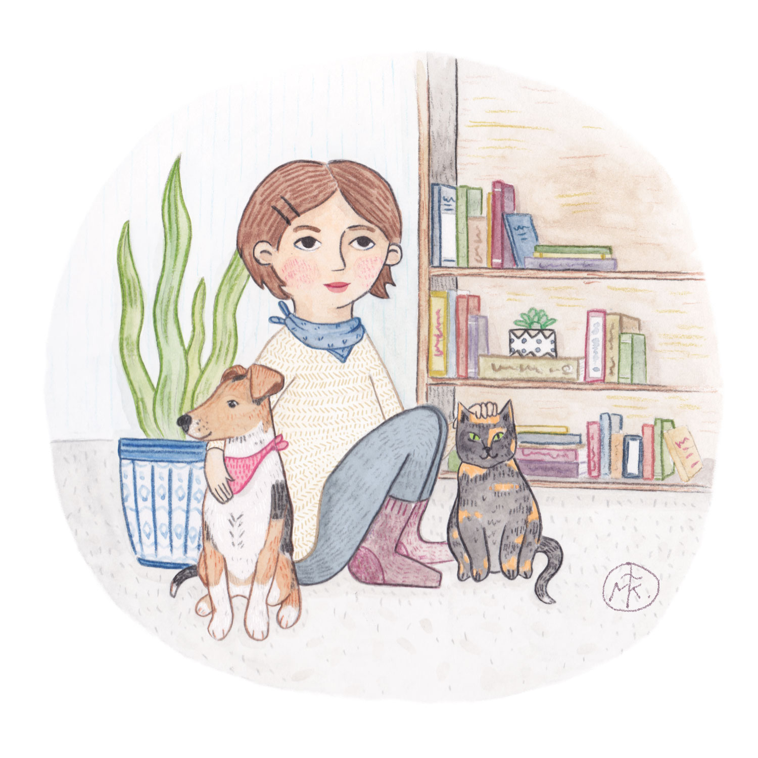 An updated self portrait for my site — had to make a new one with my shorter hair!