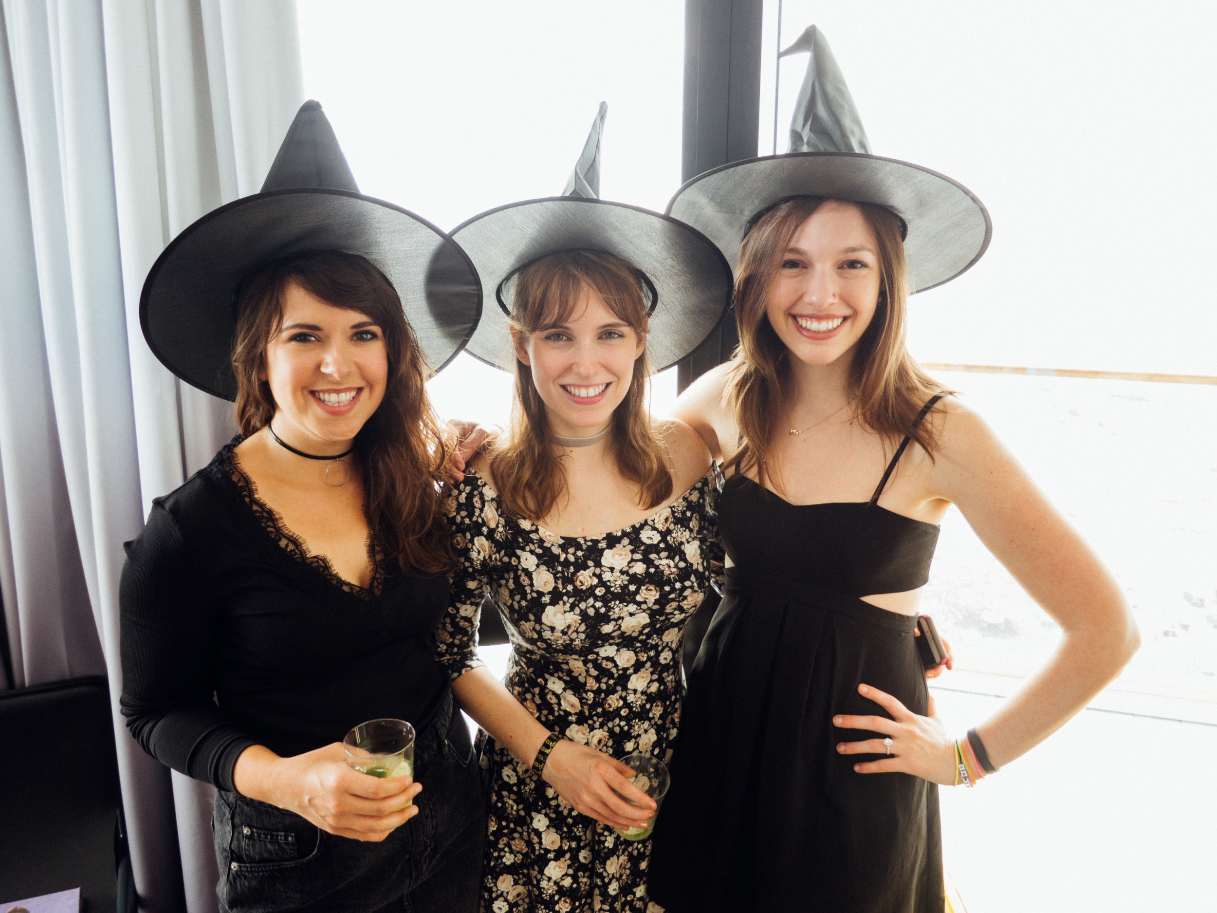 Witch hats were fun to wear but also served the purpose of uniting us as a group and pulling the theme together in a simple and obvious way - no sashes or inappropriate paraphernalia in sight.