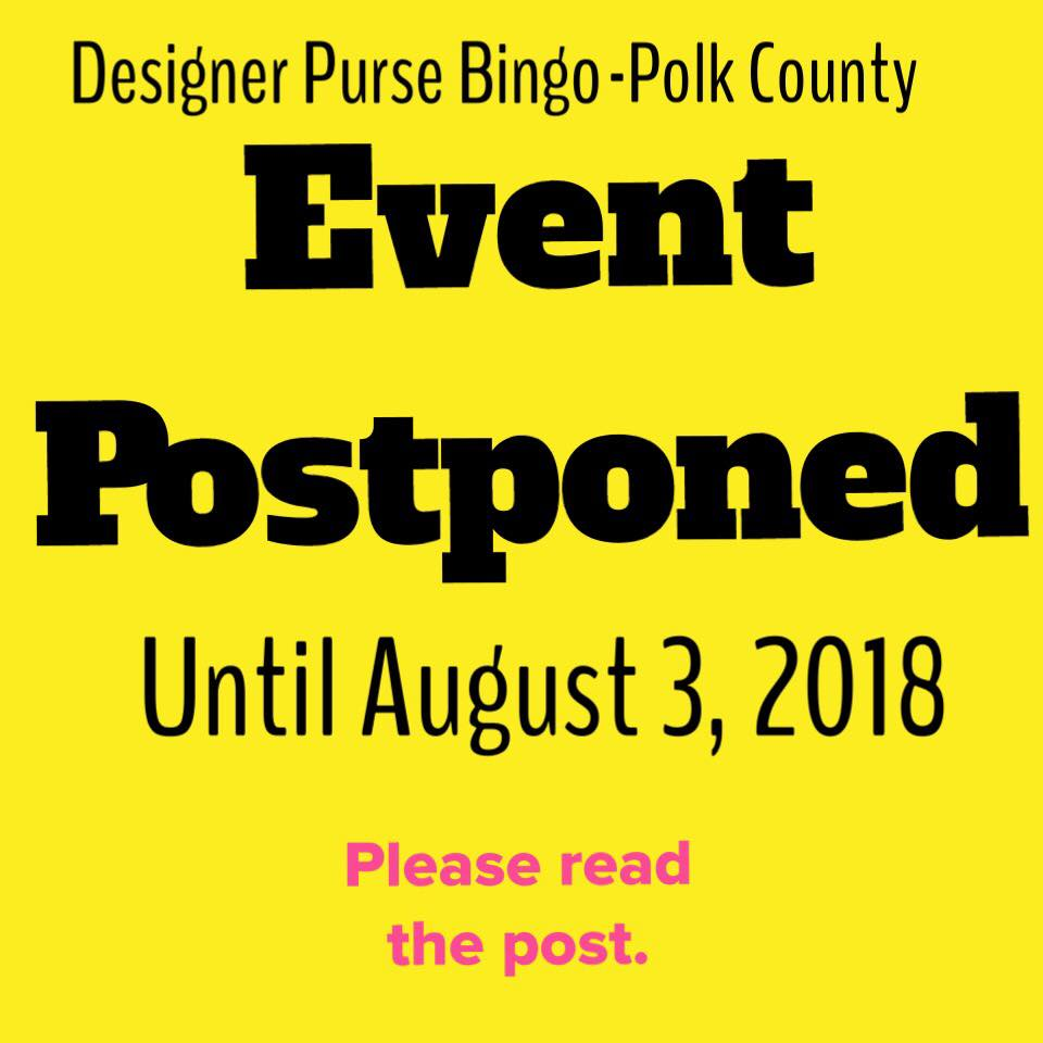 We are normally excited to share Purse Bingo news with you but today is a different kind of post and important so please be sure to read and share with those who have purchased bingo tickets. To host a charitable bingo game you must receive a license from the State of Texas. We have successfully done so in the past but due to issues out of our hands we will not have a license for February. We want to do things legally and correctly (it's a 3rd degree felony to conduct a bingo game without a license and none of us want to go to prison for 2-10 years!) and with a very heavy heart and some sleepless nights we have decided to postpone Designer Purse Bingo event on February 2, 2018 until August 3, 2018. Please know this was totally unexpected and we are sick to have to postpone the event. For those of you have purchased tables or individual tickets and do not think you will be able to attend the event in August we are happy to refund your money, if you will please send us a message. Or if you would like your purchased tables and tickets to be applied towards the August event we can totally do that as we have records of those who purchased tables so there will be no problem keeping track who will already have tables for the August event. Again this is painful and totally unexpected but we want to be transparent with all of you as we are incredibly thankful for all of your support and continued support of survivors of domestic violence and sexual assault in Polk County!! ***This is not the end of our bingo fundraiser, just a small hiccup.***