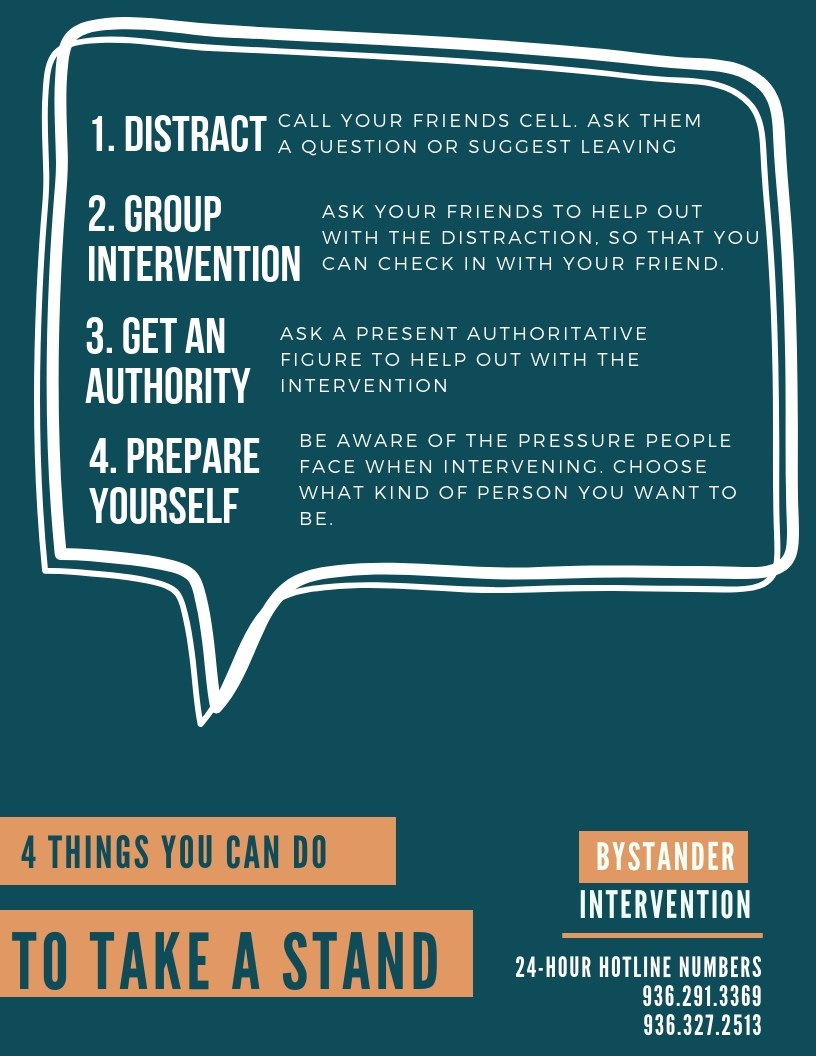 Bystander Intervention - In light of recent events on the SHSU campus, we just wanted to remind our communities about the importance of Bystander Intervention. Here are 4 steps for taking a stand against assault!