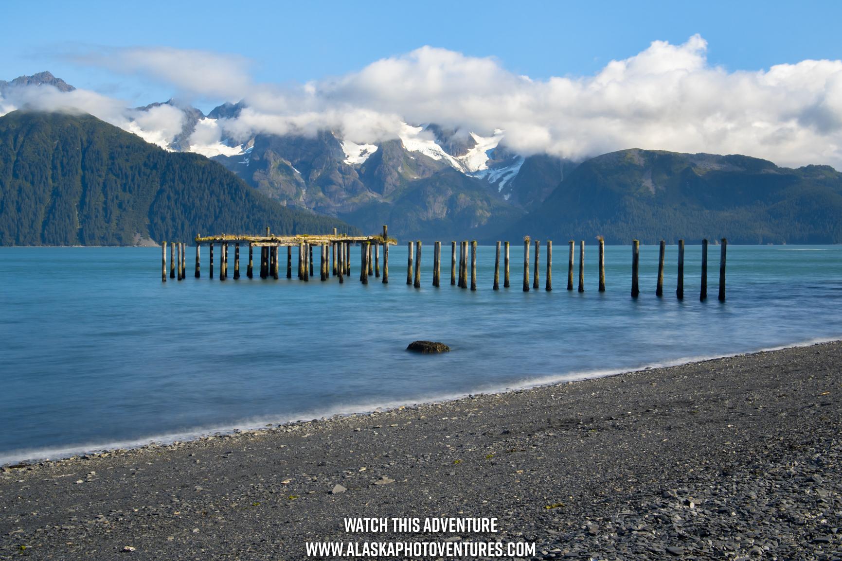 Long exposure North Shore Caines Head Seward Alaska