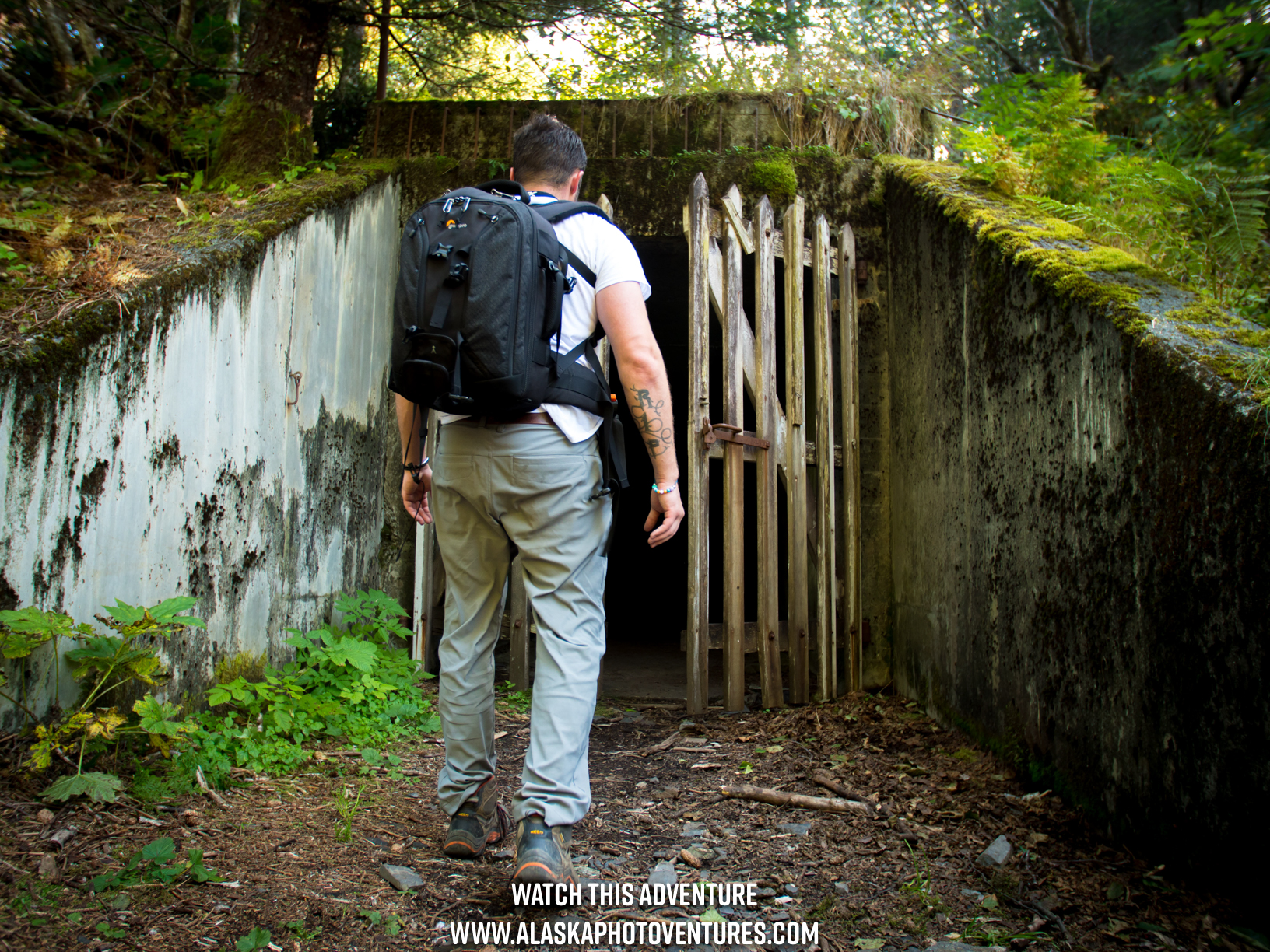 Person Entering Fort McGilvray Caines Head Old WW2 Fort