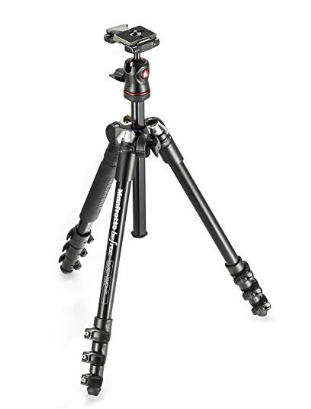 Manfrotto Tripod - It goes up and down and holds my camera steady… It's pretty light and has ice cleats. To be honest I could use a carbon fiber one.