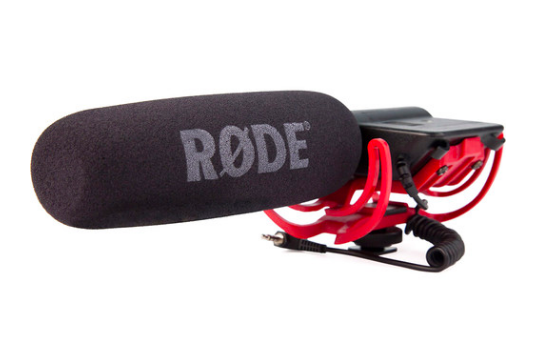 Rode VideoMic - Picks up great sound and the suspension kit helps from hearing all the extra stuff I don't want.