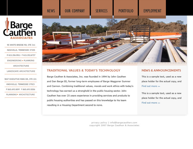 Custom design / build: Barge Cauthen Civil Engineers Nashville