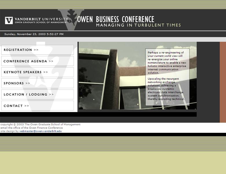 Custom design / build: Owen Business Conference