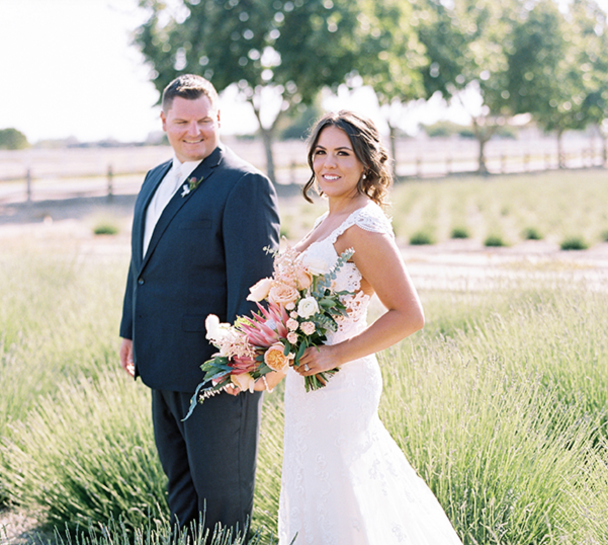 Garden Inspired Wedding - A look inside a Lavender Farms wedding, from mis-matched bridesmaids dresses to DIY decor.