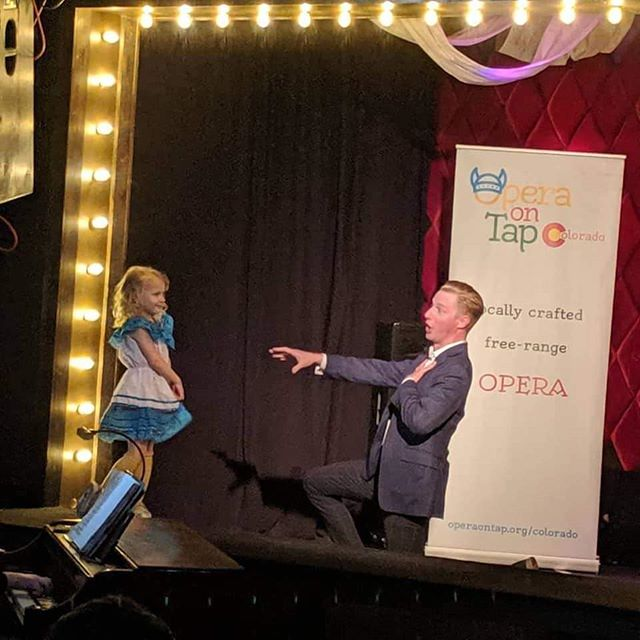 Twas hilarious to see this little cutie pop up on stage as I was singing Vous qui faites with #operaontap here in Denver. #showmustgoon