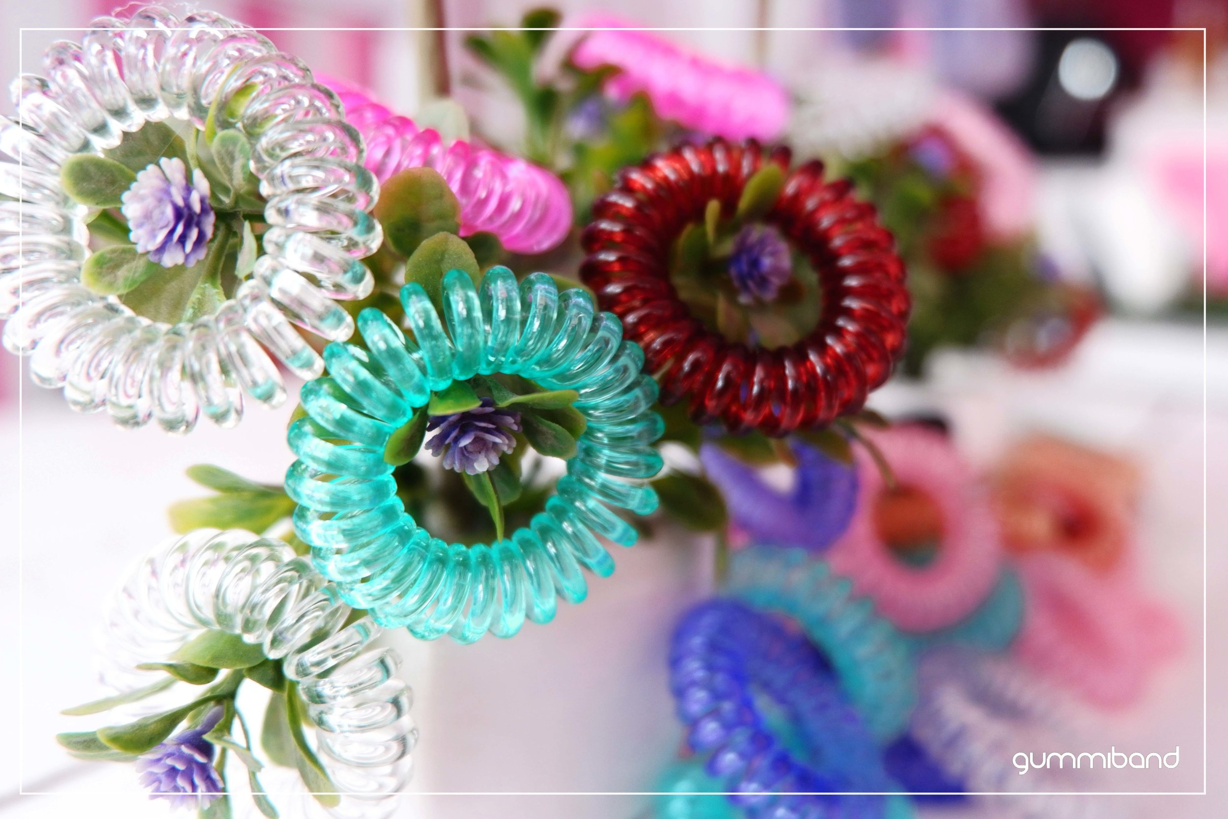 GummiBand Traceless Hair Cords in assorted colors as ornaments