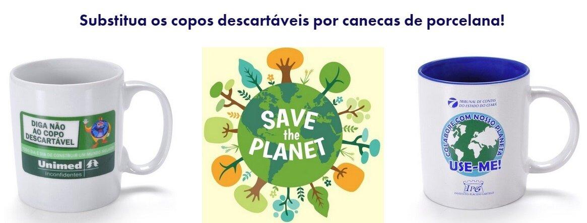 Cada copo de plástico demora 450 anos para se decompor na natureza! Diga NÃO ao copo descartável no trabalho! Use canecas de porcelana. A natureza agradece.