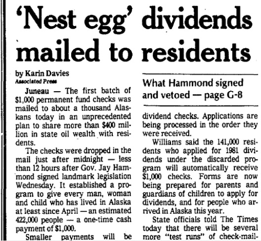The Anchorage Times published this AP account of the first dividend checks on June 17, 1982.