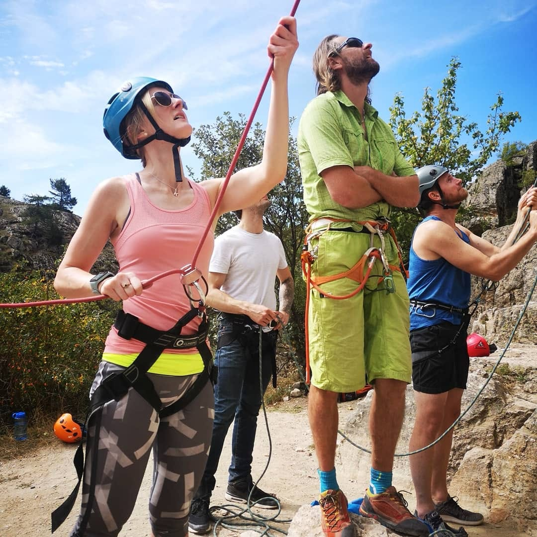 Indoor climbers on their first day ever of outdoor rock climbing.