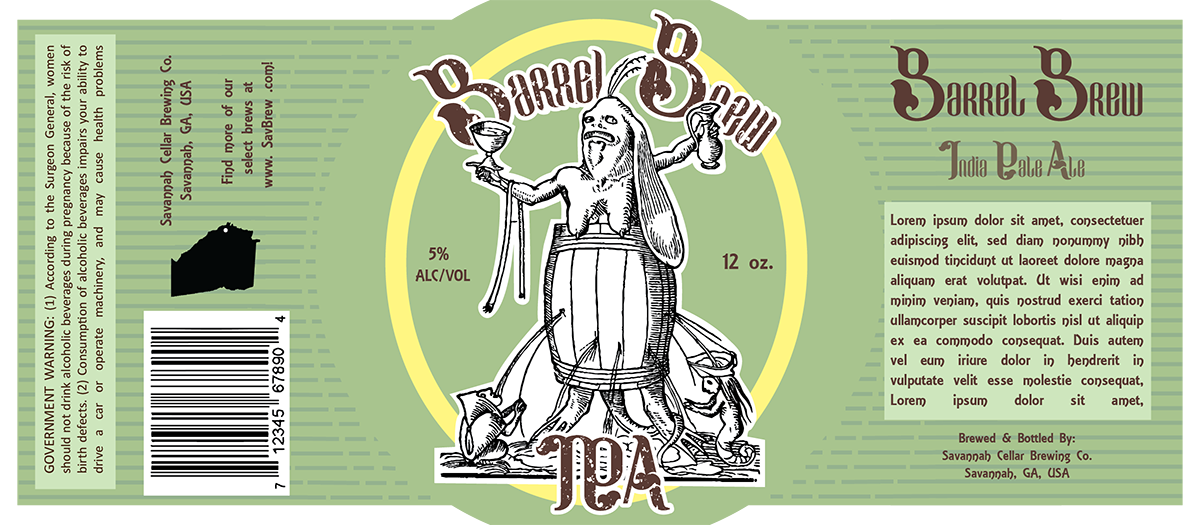 Full label for printing with Lorem Ipsum as holder for IPA description