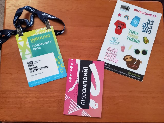 The items I received after checking in at the registration desk.
