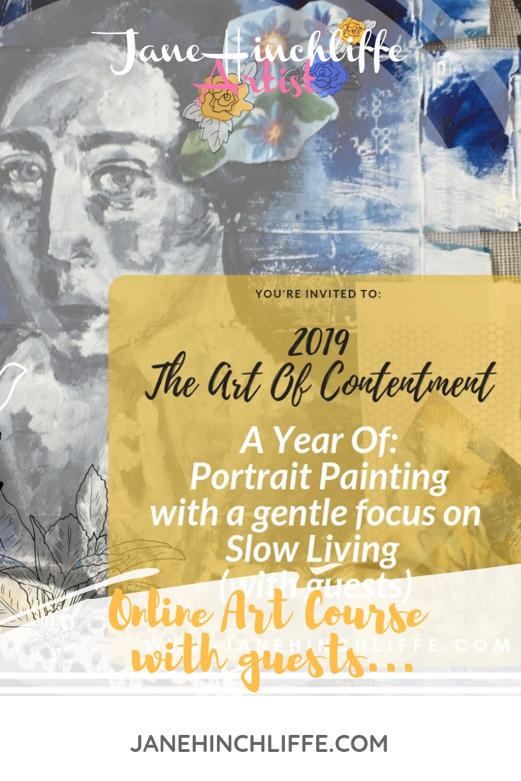 "When Jane emailed me about participating in her ""Year of Portrait Painting"", I was intrigued.  But when I saw the tag line, ""…with a gentle focus on Slow Living"" - I was sold.  I believe that  the best progress is gentle and slow.   I believe that, in spite of the fact that when I first picked up a paintbrush, only about 7 years ago, I truly believe ""the spirit of the Lord came upon me and the glory of the Lord overshadowed me"".  (I'm only a little bit tongue-in-cheek, there)  Progress was leaps and bounds and quick and involved hours and hours a day of hard work.  It did not feel like work, though, because the healing I was also experiencing was so deep and so good.  July is my month to participate.  I will be sharing a portrait painting ""how to"", and I will be sharing my thoughts on what it means to be an embodied woman ""in the middle"", and how that relates to gentleness.  I happen to believe that an understanding of the gentleness of God is the most powerful thing you can have, once you are about age 35 and older.   Really  knowing this aspect of the character and nature of God will empower you to make genuine progress in places you may have felt stuck.  I want to gift YOU with a spot in this year-long course.  You can find out more about it  here .  I will draw a winner at random on or about June 30th.  To be entered to win,  click here with your best email address  (this is the email to which all your course material will be sent).  Thank you, Jane, for inviting me to be a part of such a good thing!"