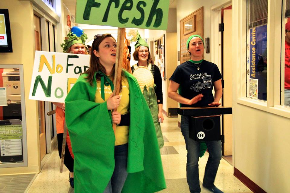 Students at UMaine Presque Isle march on campus to ask for more local and real food as a part of the Maine Food for the UMaine System coalition effort in 2015.